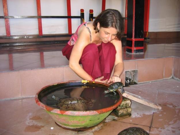 Foto: Karin Myria Pickl in einem Tempel auf Bali