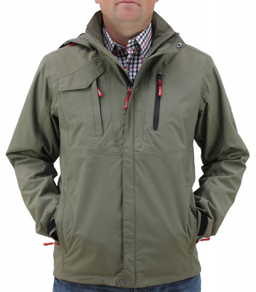 "Stylishe Herren Regenjacke ""Rocky Bay"" von Fifty Five Outdoor Bekleidung in Olive 1"