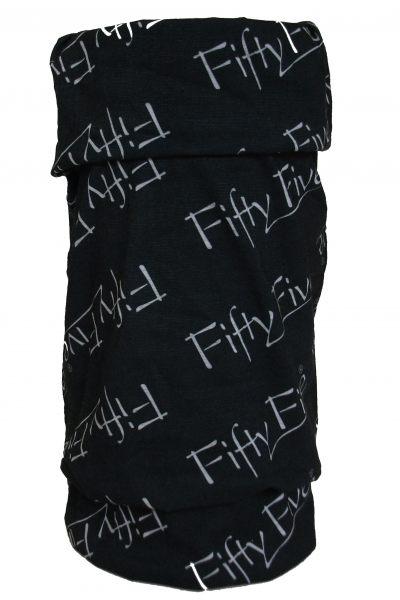 Stylishes Multifunktionstuch von Fifty Five in Schwarz mit weißem Logo 1