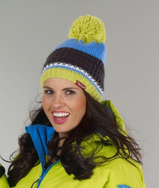 Farbenfrohe Strickmütze mit Bommel zum Rodeln, Skifahren oder Spaziergänge im Schnee